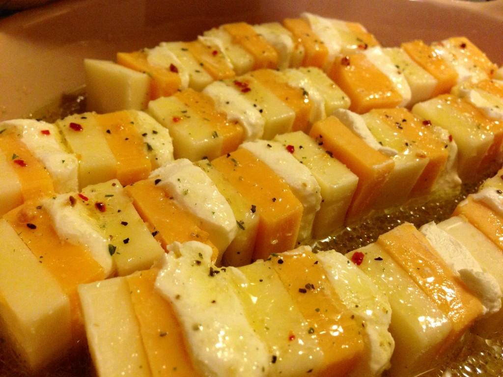 Marinated cheese, pre-drain...