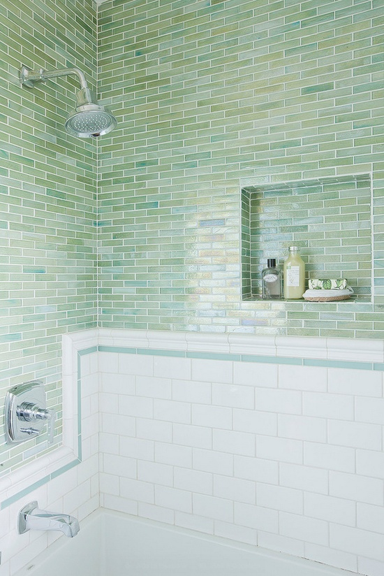 Love the nooks and the continuation of the single blue line in the white subway tiles.