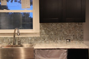 The start of the backsplash tiling...
